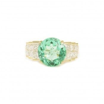 Colombian Emerald and Diamond in 14K YG SKU# R1689