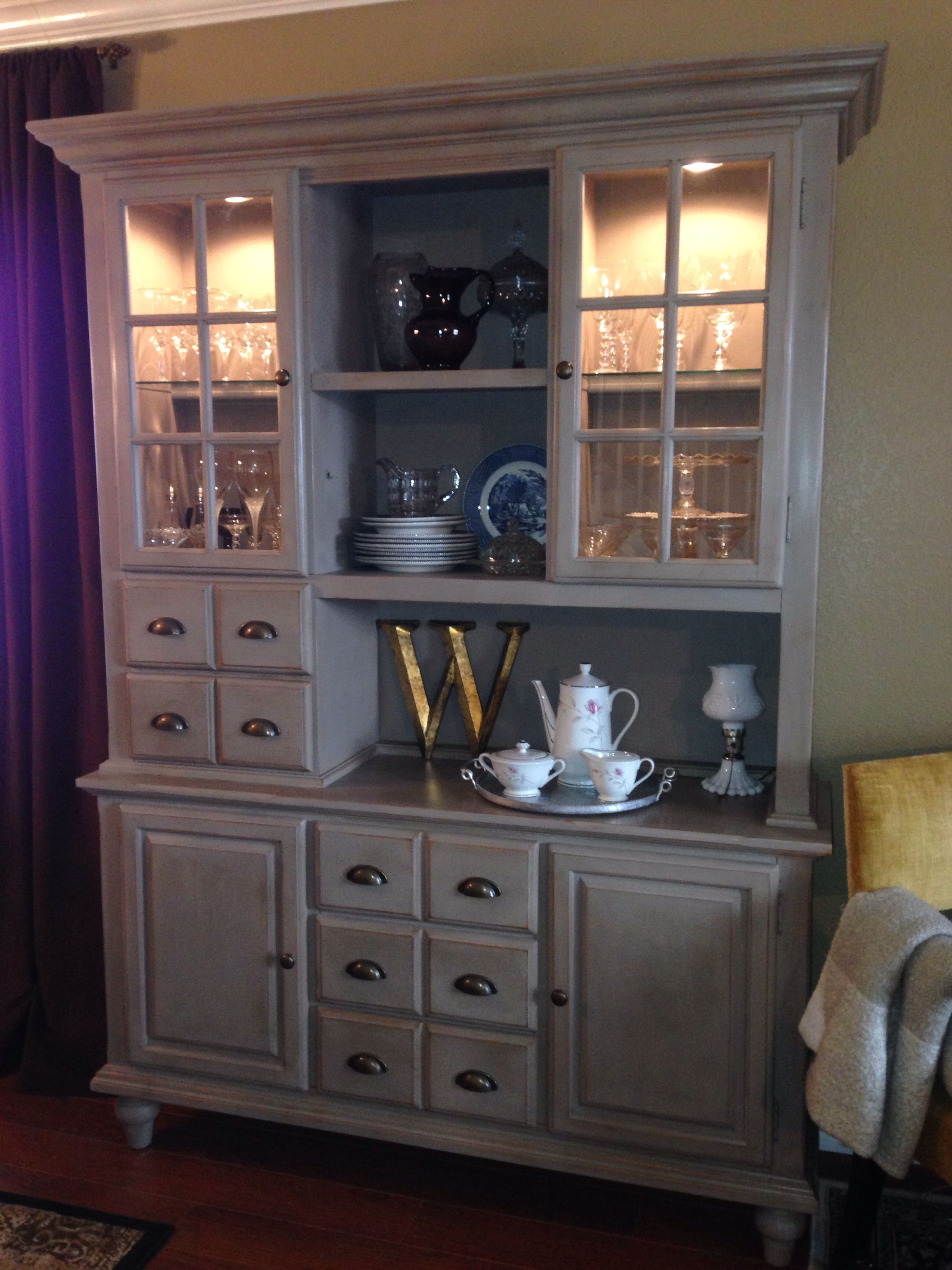 Dining Room Hutch China Cabinet Redo With ASCP Coco Chalk Paint