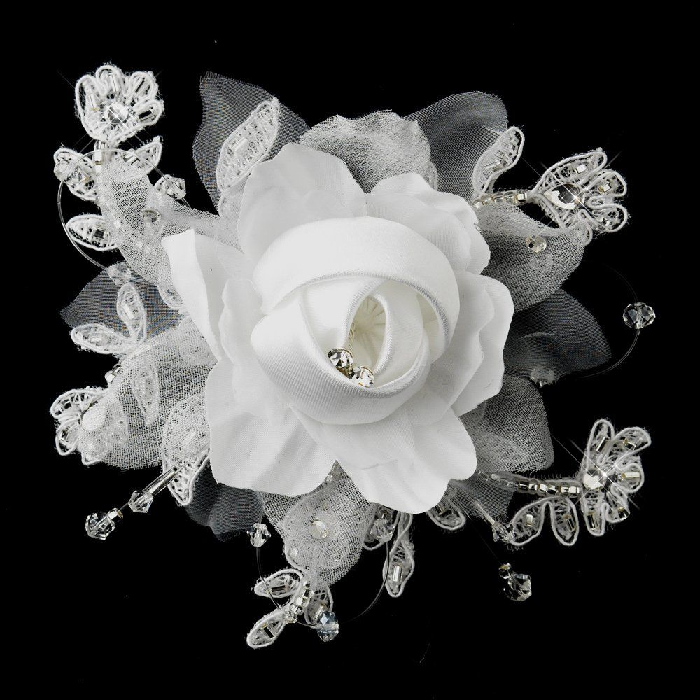 Charla Crystal Lace Satin And Organza Flower Wedding Bridal Hair
