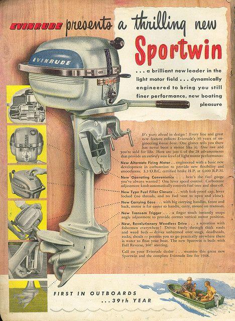 Evinrude Boat Motor Ad 1948 Vintage Fishing Pinterest