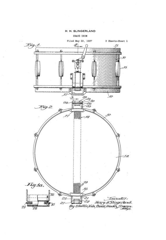 slingerland radio king snare drum 1930s patent by guitarspatents guitar patents drum. Black Bedroom Furniture Sets. Home Design Ideas