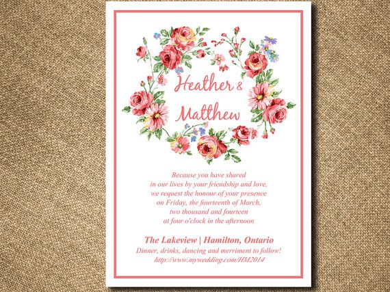 Vintage Rose Flower Wreath Wedding Invite Microsoft Word Template