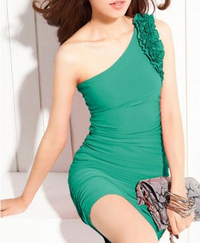 Green One Shoulder Body-Conscious Jersey Dress with Frill