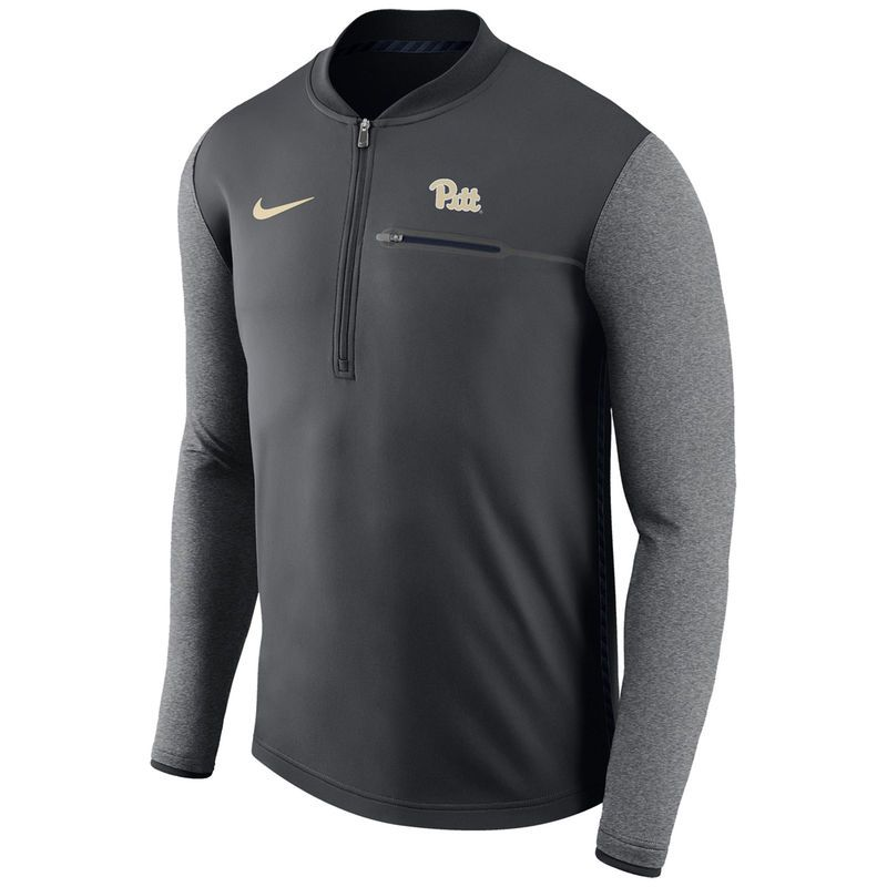 eaa6f564c Pitt Panthers Nike Coaches Sideline Half-Zip Jacket - Anthracite ...