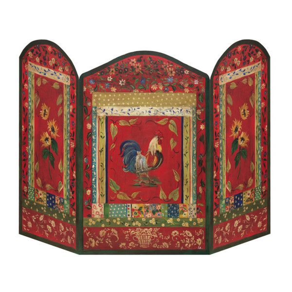 Stupell Rooster Fire Screen ($70) ❤ liked on Polyvore featuring