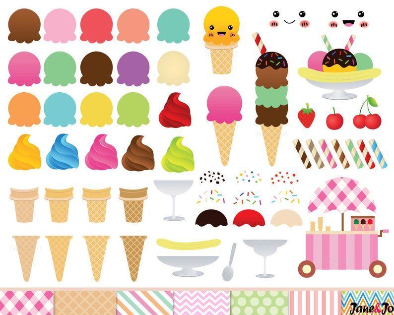 68 Ice Cream Clipart Cone De Creme Glacee Clip Art Etsy In 2021 Ice Cream Clipart Free Clip Art Digital Paper