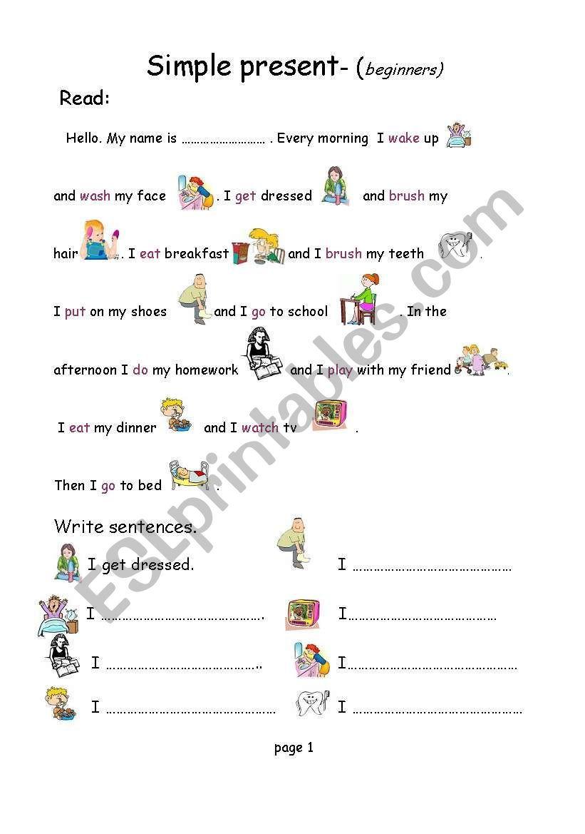 Simple present beginners ESL worksheet by kbhp en 2020