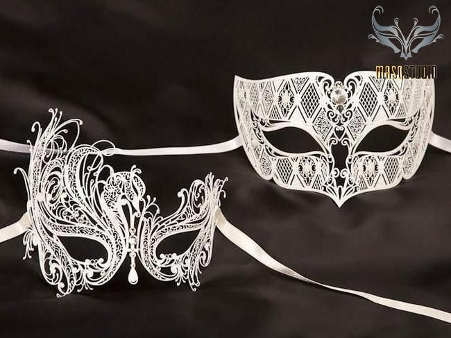 Black Swan Masquerade mask pair for couple Xmas New Year Costume Mardi Gras