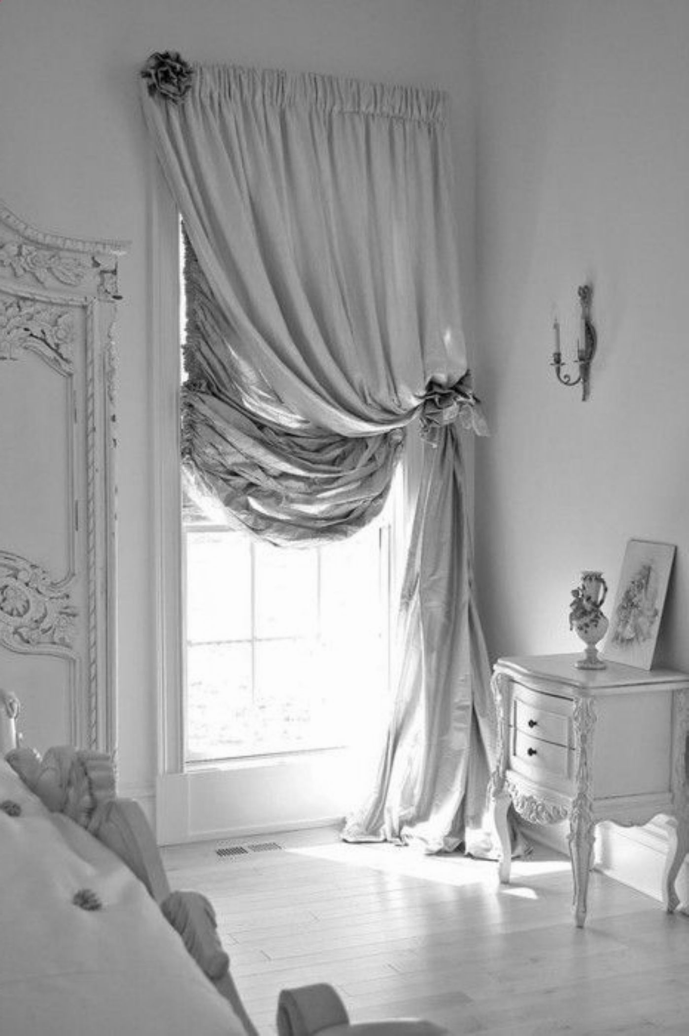 [Decorating Ideas] : Contemporary Bedroom Decoration With Cool Beige And  Curtain Of Glass Window Combine With Classic White Painted Home Furniture  Also ...