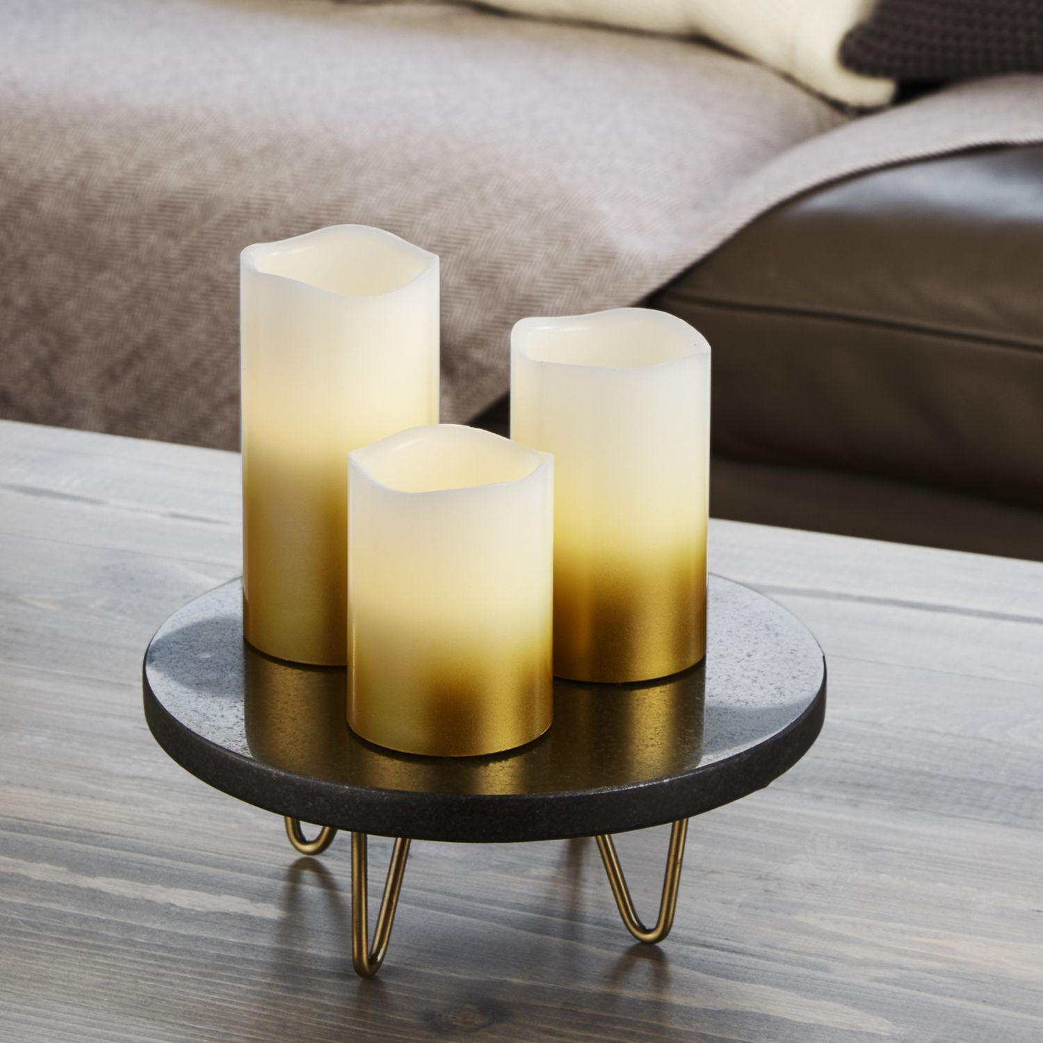 This Set Of 3 Gold Pillar Candles Features A Faded Ombre Design Perfect For Eclectic Holiday Settings Add Touch Elegance To Any Style Decor With