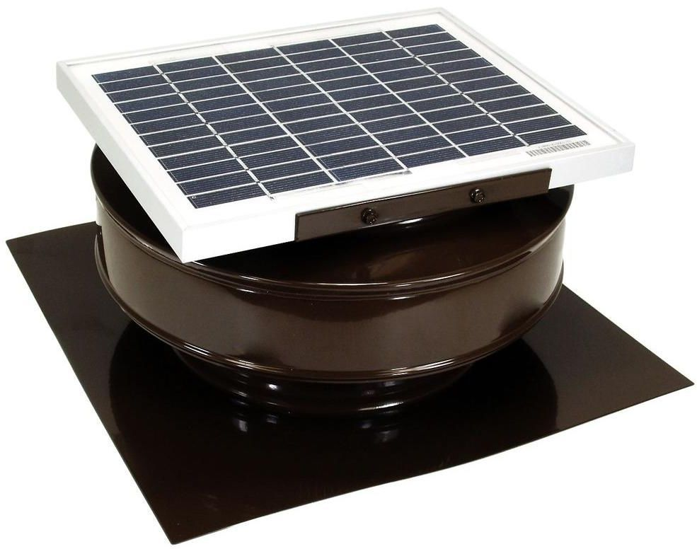 Solar Powered 5 Watt Roof Mounted Exhaust Attic Ventilation Fan 365 Cfm Brown Activeventilationproducts Solar Powered Attic Fan Solar Attic Fan Attic Fan