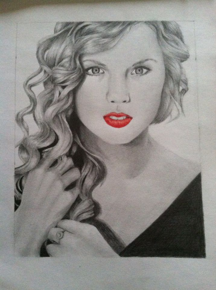 Taylor swift in pencil and colored pencil
