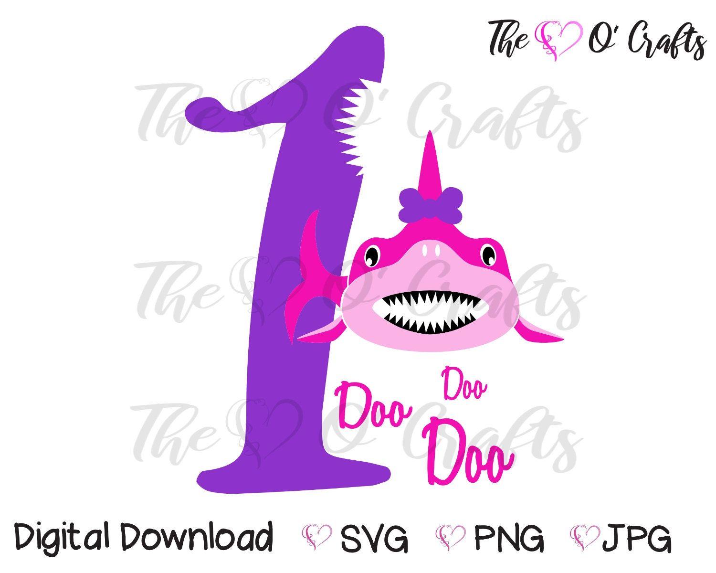Baby Shark First Birthday SVG, Girl Shark Birthday, Shark