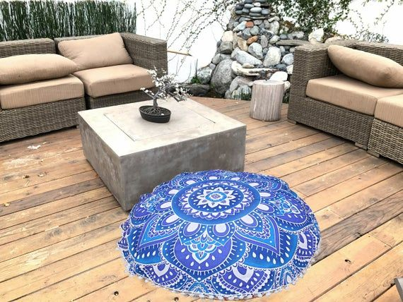 Indian Ottomans Pouf Cover Hippie Handmade Ombre Mandala Decorative Cushion 32'' Inch Round Floor Pi