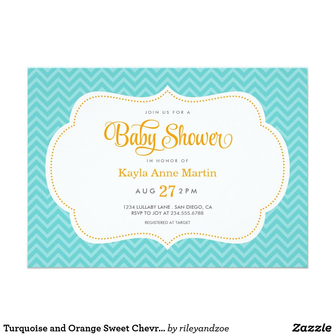 Turquoise and Orange Sweet Chevron Baby Shower Card | Chevron baby ...