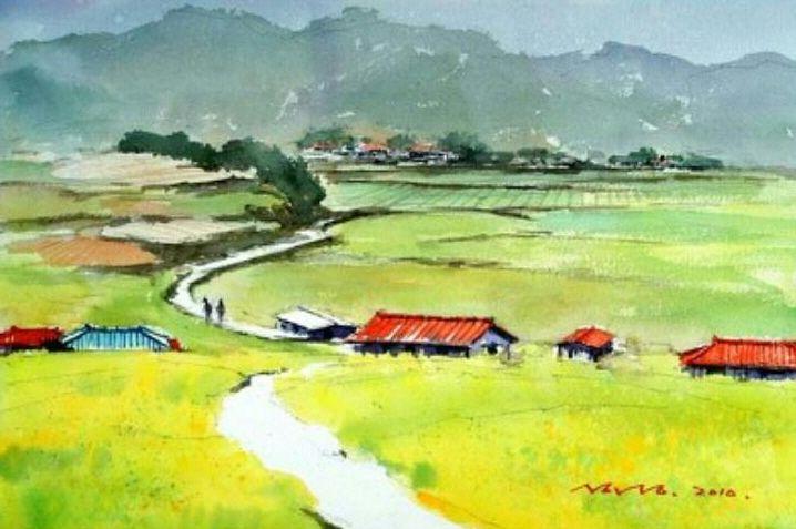 선학동 이야기  watercolor by insung Jung