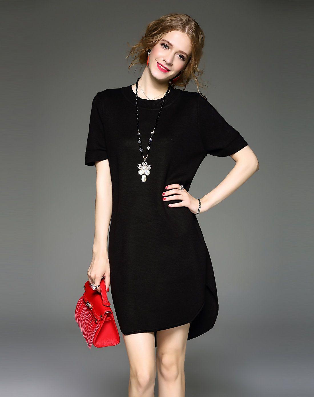 Adorewe vipme shift dresses qeexi black short sleeve asymmetrical