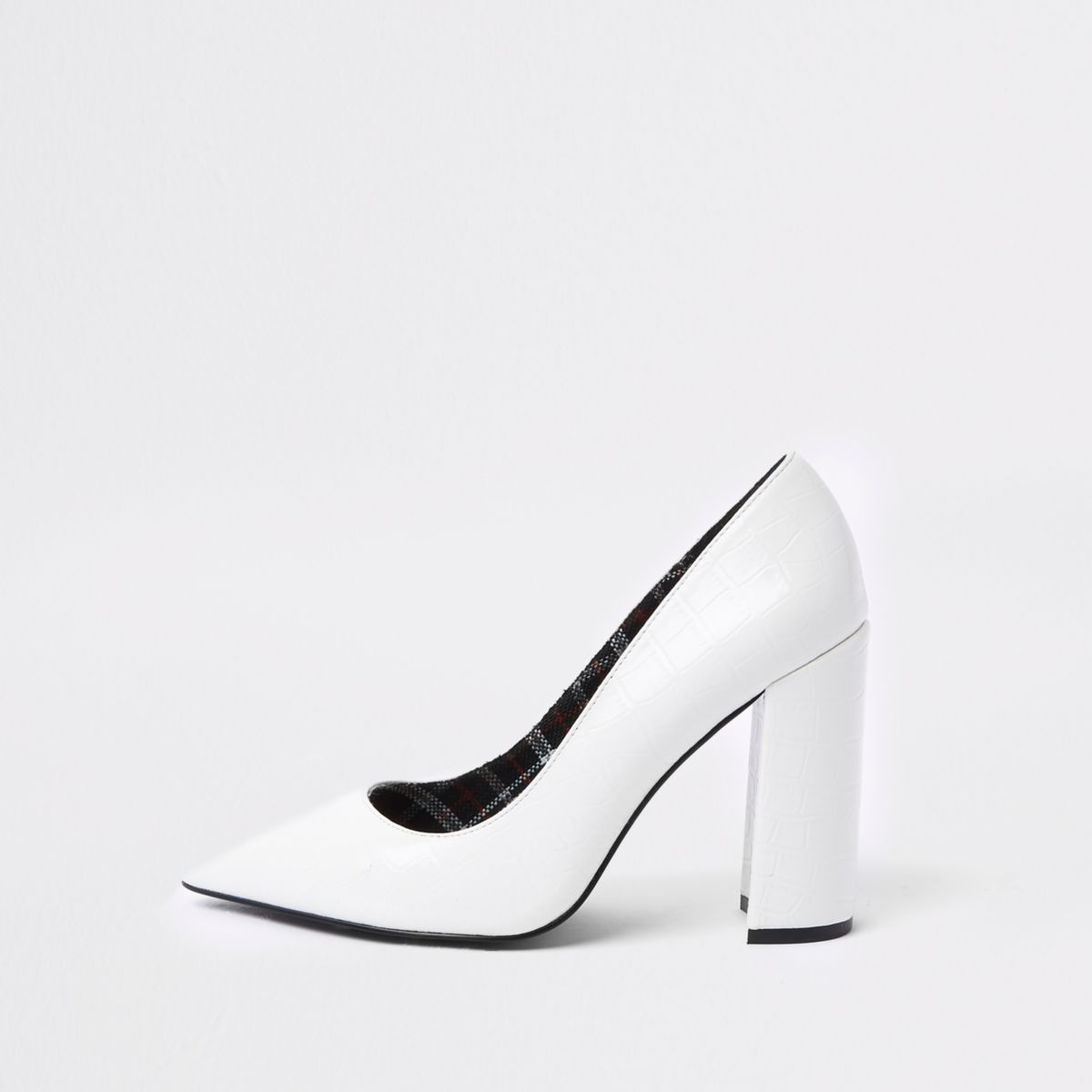 White croc embossed razor heel court