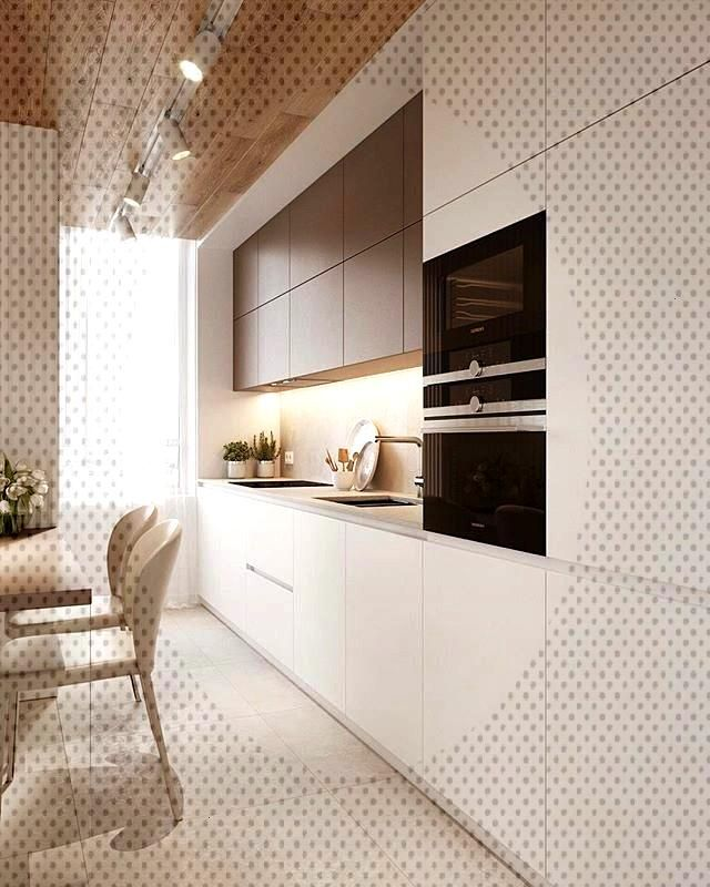beige neutral kitchen wood plank panel ceiling design idea modern small condo ideas brown warm tone