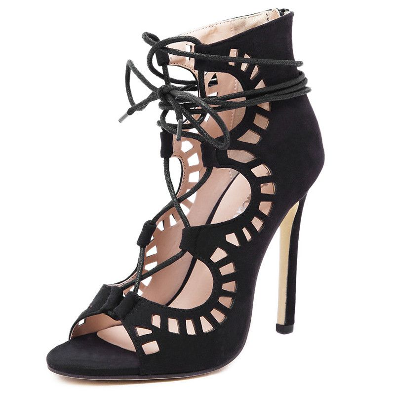 80836adf253 New Women Gladiator Sandals High Heels Sexy Open Toe Cut Outs Women Shoes  Lace Up Party Shoes Woman Pumps Big Size 35-43 WSH2094