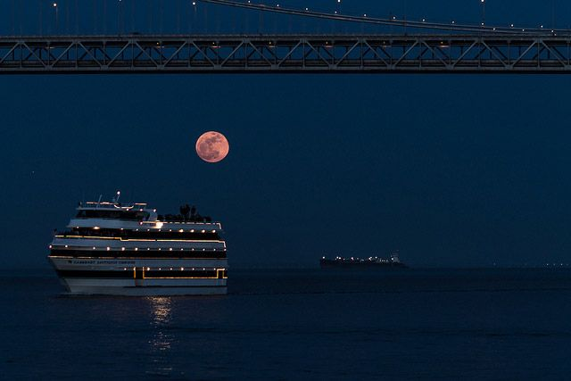 Super-moon and SF Ferry Boat