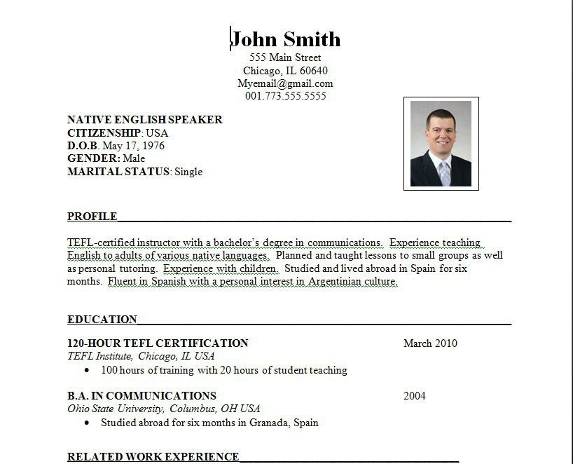 demo resume format Download Sample Resume Format