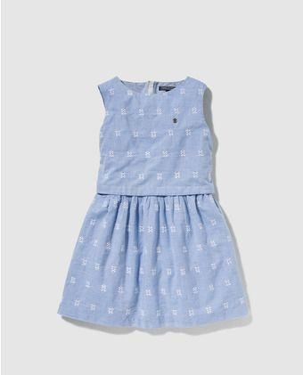 f348723aa25 Vestido de niña Tommy Hilfiger azul con bordados