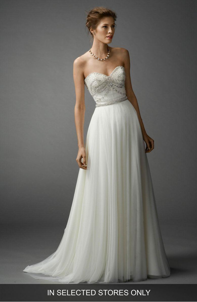 Nordstrom wedding dress  Watters Gracua Soft Net ALine Skirt at Nordstrom Embellished