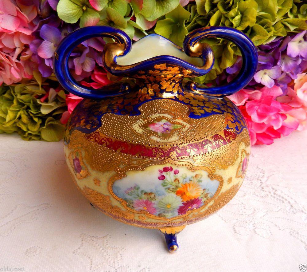 Gorgeous Nippon Porcelain Hand Painted Vase ~ Gold Gild ~ Beading ~ Cobalt