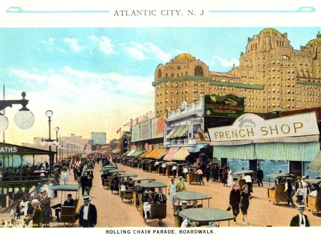 atlantic city boardwalk rolling chair parade circa 1920s new