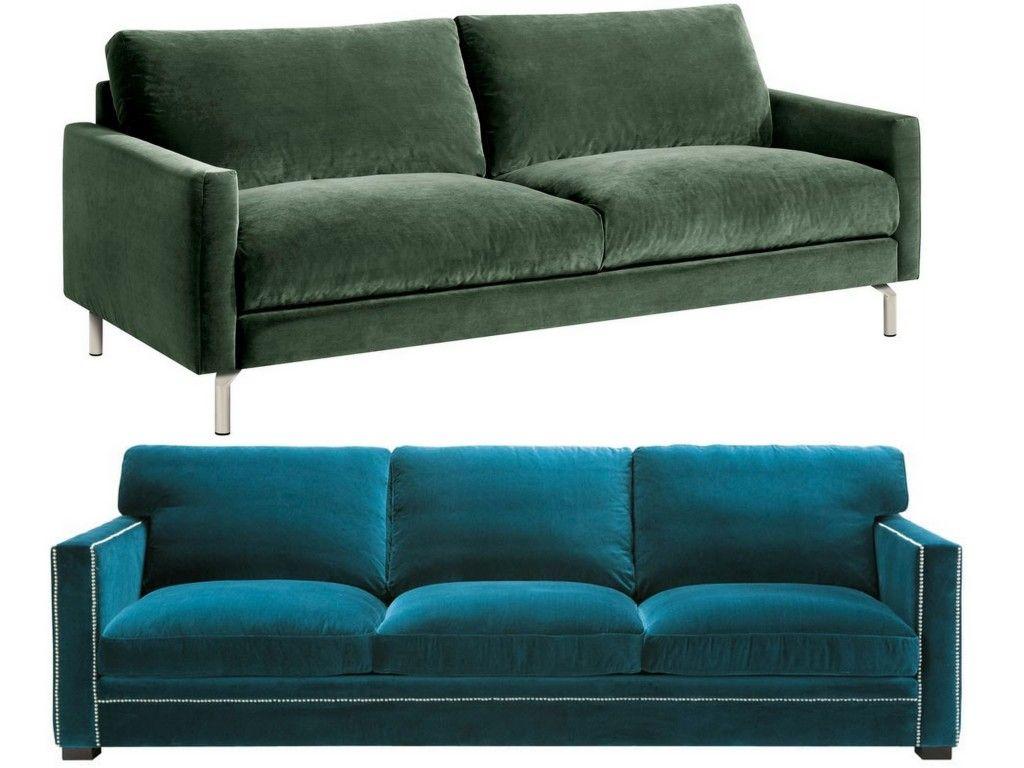 Canapé en velours : entre vert et bleu, notre cœur balance | Salons