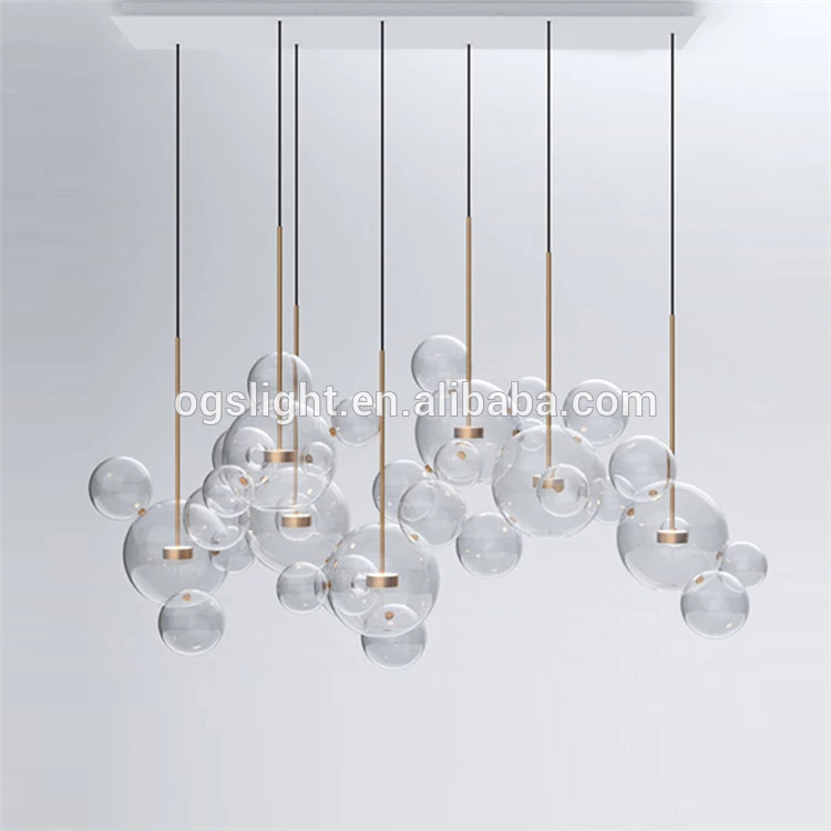 Modern Hanging Round Colored Hand Blown Glass Balls Chandelier For