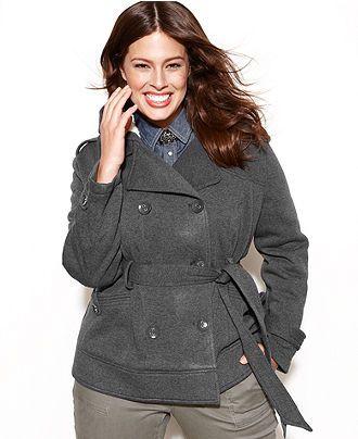 2cfcd33ae864c Dollhouse Plus Size Hooded Fleece Double-Breasted Jacket - Plus Size Coats  - Plus Sizes - Macy s