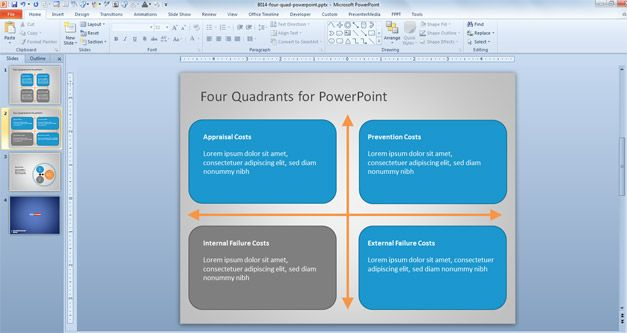Editable Quad Diagram for PowerPoint #QualityManagement #PPT - powerpoint proposal template