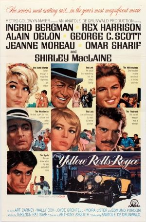 The Yellow Rolls Royce, 1965 - original vintage movie poster for a comedy film directed by Anthony Asquith and starring Ingrid Bergman, Rex Harrison, Alain Delon, George C. Scott, Jeanne Moreau, Omar Sharif and Shirley MacLaine listed on AntikBar.co.uk