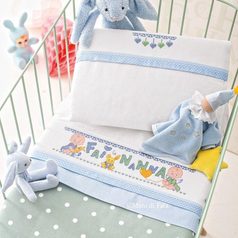 lenzuolino culla da ricamare a punto croce  lenzuolini per bebè  Pinterest  Punto croce, Bebè ...