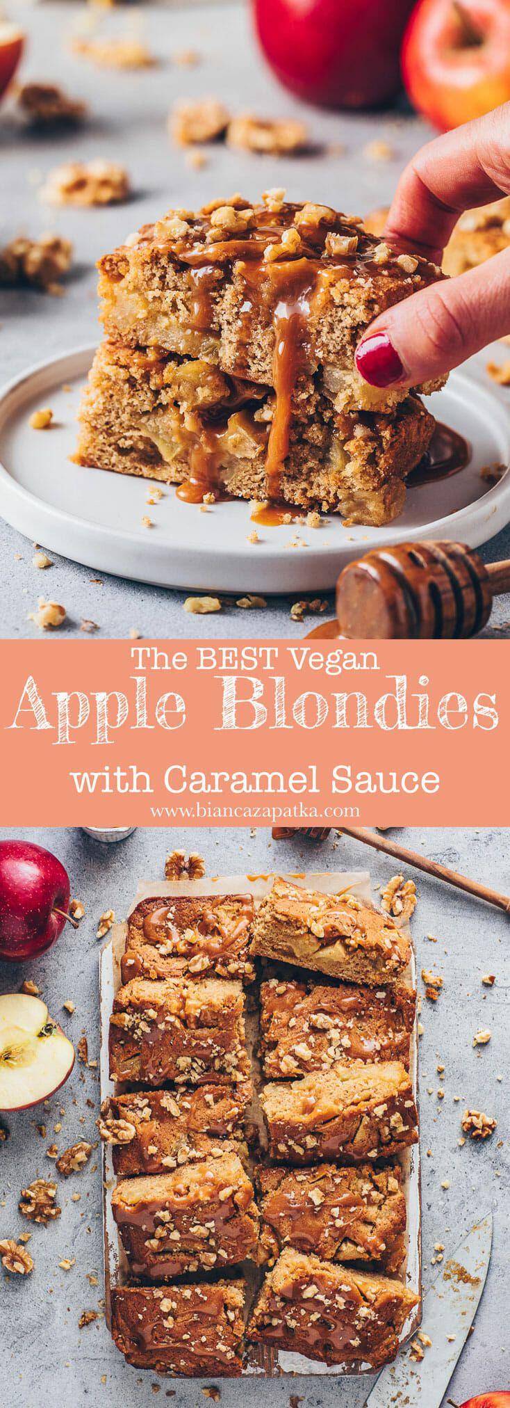 Apple Blondies with Caramel   Vegan Apple Bars - Bianca Zapatka   Recipes