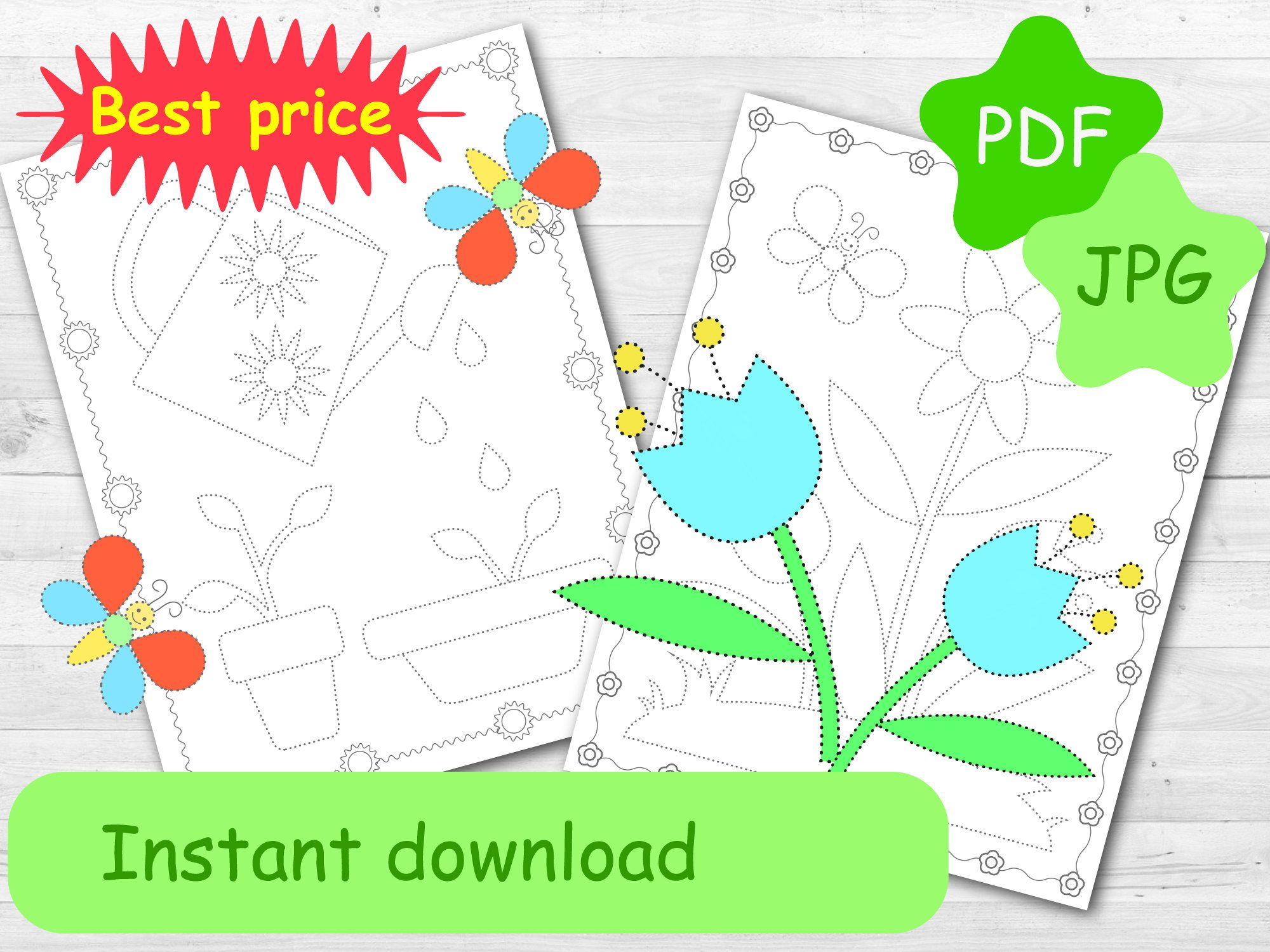 Tracing Coloring Pages Spring Amp Summer Worksheets For