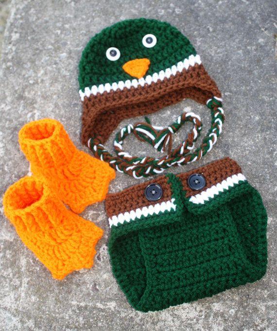 012a1b64a Crochet Mallard Duck Diaper Cover, Booties and Hat Photo Prop 0-3 ...