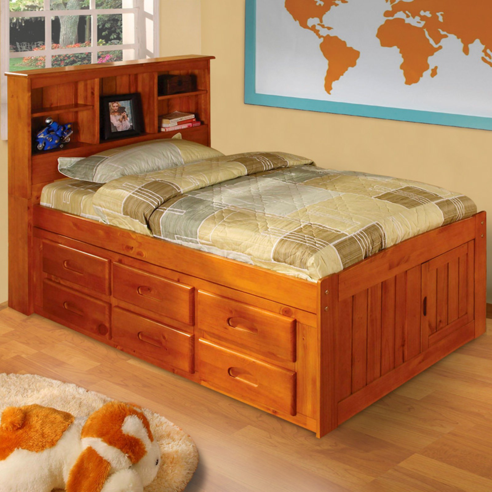 American Furniture Clics Bookcase Headboard With Six Drawers