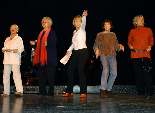 20 March 2005: The dames - Judi Dench, Joan Plowright, Helen Mirren, Eileen Atkins and Diana Rigg- rehearsing their rap number for 'One Knight Only' at the Theatre Royal, Haymarket, to raise funds for the Asian tsunami appeal