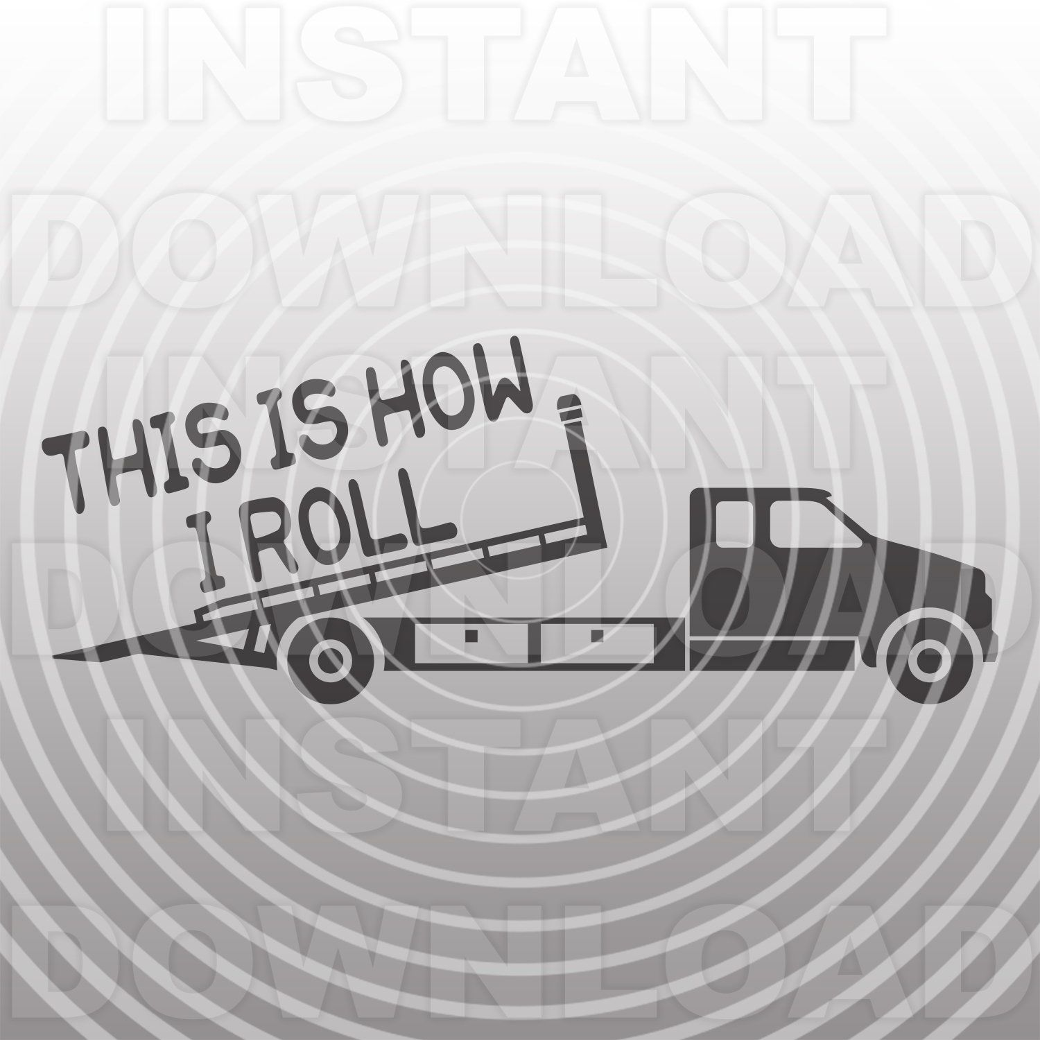 Rollback Truck Svg Filetow Truck Svgflatbed Truck Svgthis Etsy Silhouette Cameo Vinyl Sticker Labels Svg