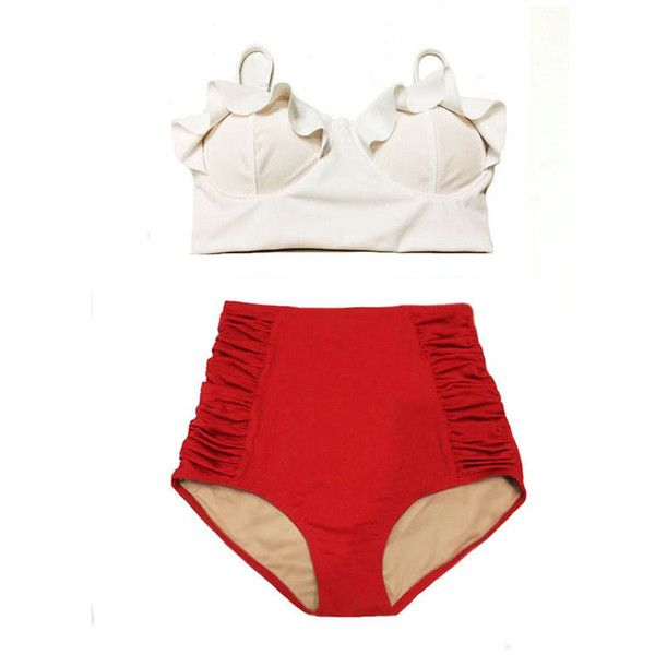 White Top and Red Ruched High Waist Waisted Woman Women Womens... (€34) ❤ liked on Polyvore featuring swimwear, bikinis, bathing suit, swimsuit, high-waisted bikinis, red high waisted bikini, high-waisted bathing suits, white high waisted swimsuit and high waisted bikini swimwear