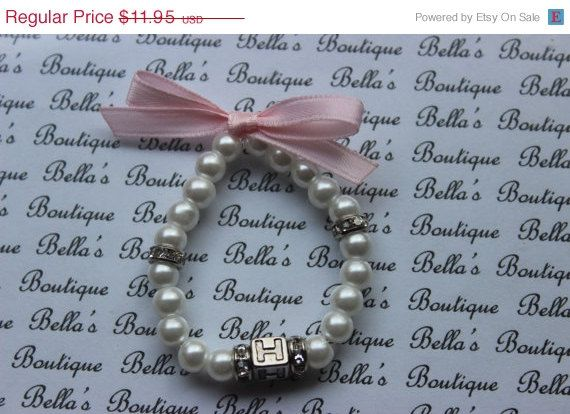ON SALE Personalized Glass Pearl Bracelet- babys first pearls-baby shower-flower girl- newborn bracelet-toddler girls childrens bracelet