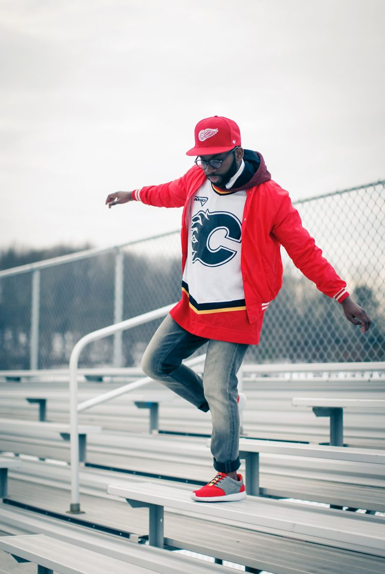 Hockey Jersey Jeans Matching Red Shoes And Jacket Hoodie Mens Style Jersey Fashion Mens Outfits Jersey Outfit