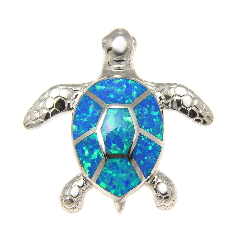 925 Sterling silver Hawaiian honu turtle blue synthetic opal post stud earrings