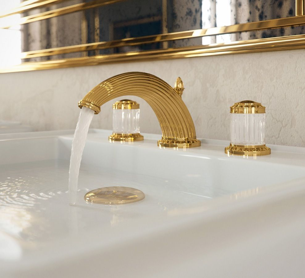 Thg Paris Gold Widespread Faucet With Low Spout And Crystal