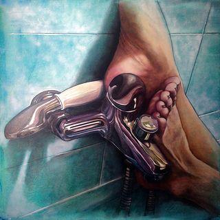 I piedi sulla doccia         Olio su tela  90x90      2015 www.monicaspicciani.it Tuscany ITALIAN contemporary Artist painting hand, portrait, feet, still life, animals.