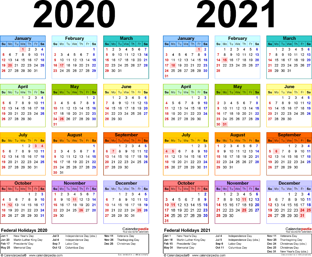 Yearly Calendar 2020 And 2021 Template 2: PDF template for two year calendar 2020/2021