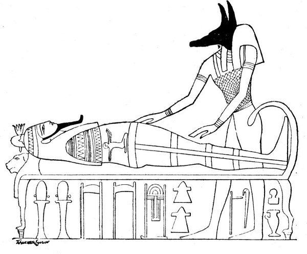 Ancient Egypt Coloring Pages Anubis with a mummy EGYPTIAN